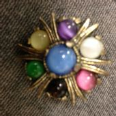 Vintage signed 'Miracle' Brooch with Satin Glass Jewels